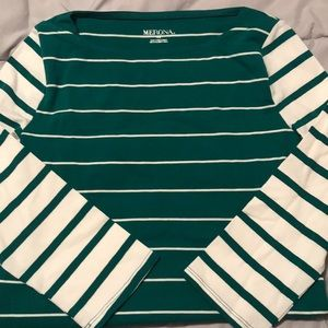 NWOT white and green striped top